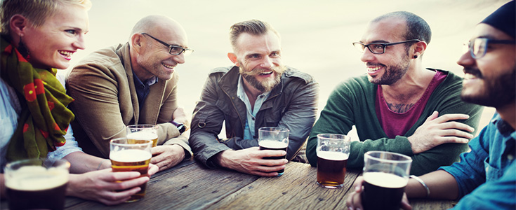 social drinks at a pub table