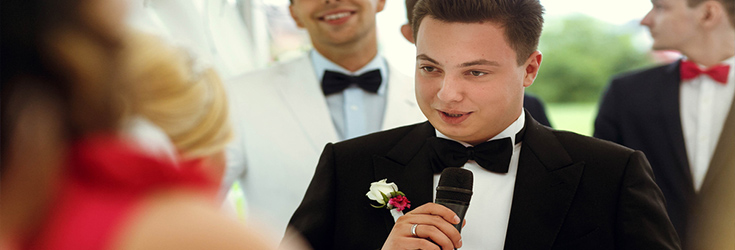 groom doing a speech