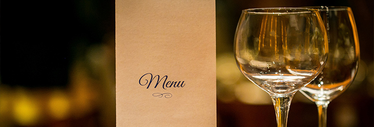 wine glasses and menu