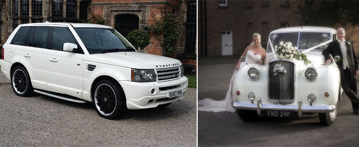 Range Rover Sport and 1960s Van Dam Plas wedding cars