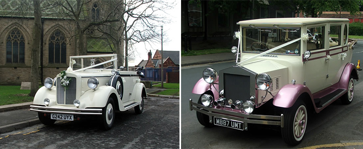 Pink Regal Landaulette and Regent Convertible wedding cars