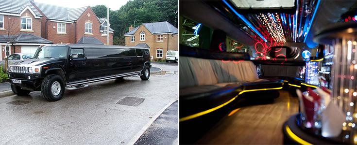 Inside a black Hummer limo