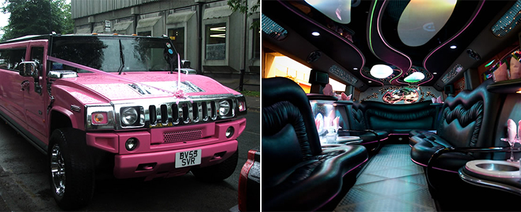 Inside a pink Hummer limo