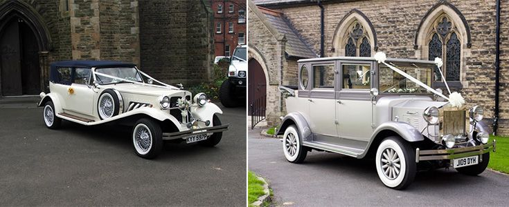 blue and silver wedding cars