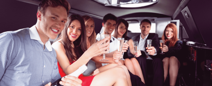 partying in the limo