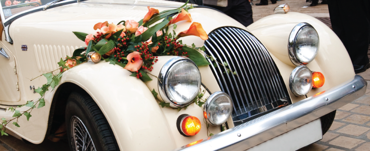 limo for a vintage wedding
